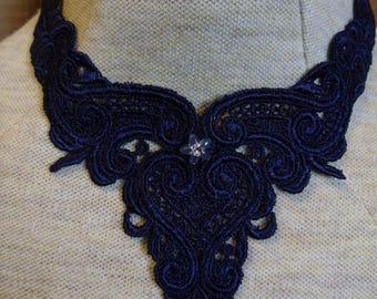Navy blue applique neckace, choice of center - trach stoma cover