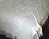 Victorian Bedspread, Candlewick white French Knots on muslin, handmade fringe borders, wedding spread lovebirds, double size, OOAK