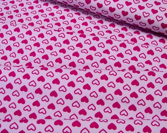 Jersey Little Darling red hearts on pink 0.54yd (0,5m) 003206