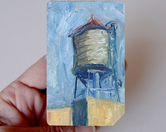 Art Oil Painting New York City  Water Tower on Recycled NYC Subway Card
