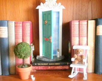 Fairy Door or Tooth Fairy Door, opens outward, turquoise, with architectural detail, Fairie Dust, 2 tiny envelopes and stationery
