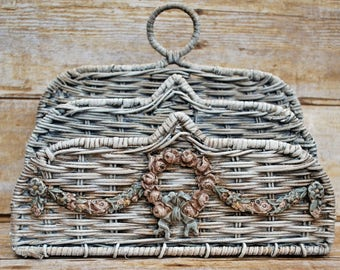 French Country Barbola Wicker Mail Organizer/Holder Rose Wreath Bow Swags Shabby Cottage Chic Romantic Home Paris Apartment