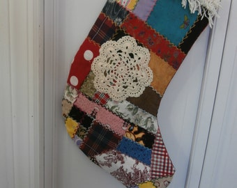 VINTAGE look CRAZY QUILT Christmas Stocking Turkey Track Embroidery Crochet  see coupon code