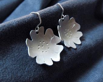 Medium Argentium Sterling Silver Flower Earrings