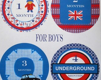 BRITISH THEMED Monthly Bodysuit Stickers