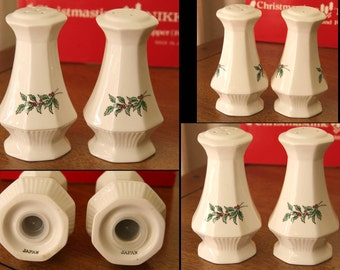 "SEASONINGS GREETINGS: Vintage Nikko ""Christmastime"" Salt & Pepper Shakers, Fine China, Evergreen Holly Leaves + Red Berries, Original Box"