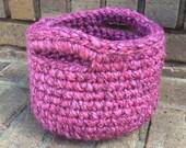 SALE! Crochet Basket in Magenta, with Handles