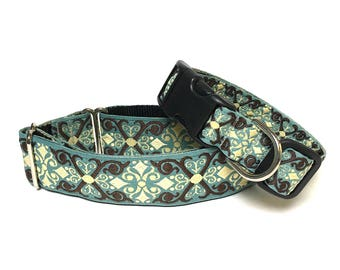 """1.5"""" martingale dog collar, CAMELOT Teal and Black, Safety Collar, Greyhound Collar, Sighthound Collar, Adjustable training collar"""