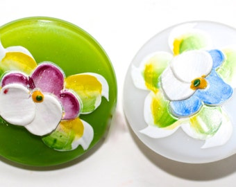 Button ~ Glass Moonglow Encrusted Flowers - Medium