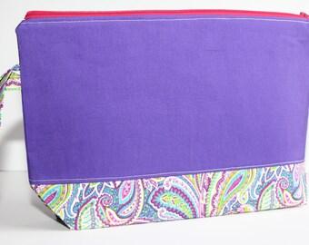 Purple Knitting Bag, Knitting Pouch, Zippered