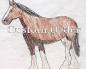 CUSTOM Beaded Clydesdale Horse Oversized Pin or Brooch