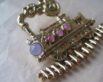Train Engine On Track Brooch Gold Pink Stone Vintage Pin Railroad