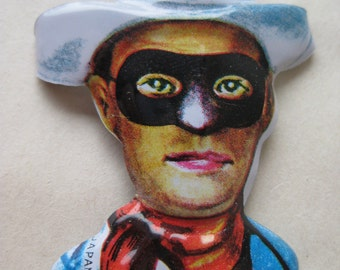 Lone Ranger Pin Tin Vintage Japan Cowboy Western Brooch