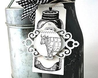 chalk painted milk jug-mini COW DAIRY-mason jar kitchen decor