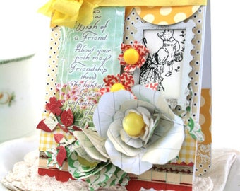 shabby chic card-SPECIAL FRIENDSHIP-decorated on the inside greeting