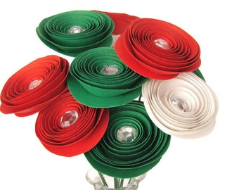 Everlasting Roses with Rhinestone Centers - Christmas Colors, Large Size