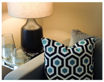 Indoor/outdoor Pillow Cover   Patio Throw Pillow Covers    Navy/turquise/white