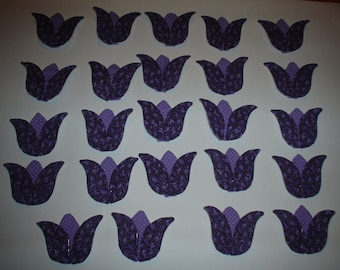 Fabric Appliques Purple Tulips for Spring, Set of 24    Press and Sew  Item 77