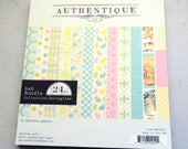 """Authentique Springtime  6x6"""" Cardstock Paper Pad, 24 Double-Sided Sheets"""