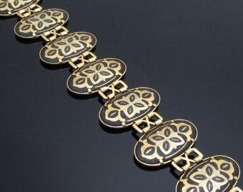Wide Damascene Bracelet Vintage Jewelry Black Gold Oval Link B7638