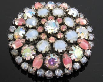 Large Domed Rhinestone Brooch Vintage Vendome Jewelry P7697