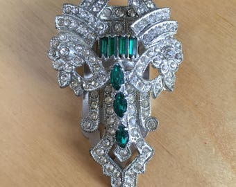 Vintage Rhinestone Deco Green and Clear Dress Clip