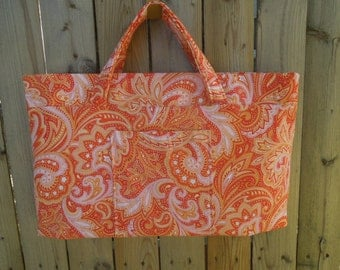Expandable Knitting Bag, Tote Bag, Market Bag-Sherbet Paisley