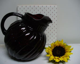 Mid Century Red Glass Pitcher