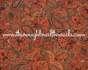 Autumn Paisley - Vintage Fabric Novelty Colorful Apparel Green Gold Orange