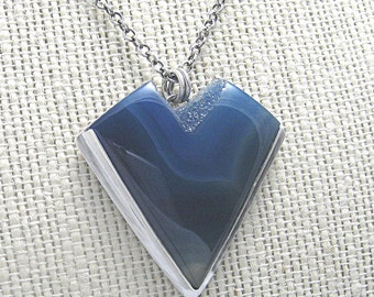 Blue Brazil Agate with Drusy Center, Pendant Necklace Set in Sterling Silver-Perfect Christmas Gift