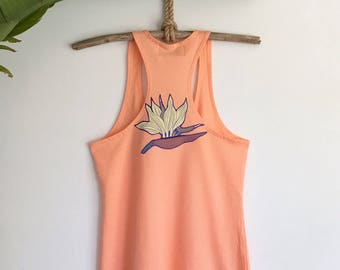 Birds of paradise racer back yoga tank