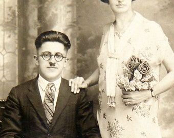 Antique Photograph Wedding Photo Flapper Era  In embossed Folder Frame