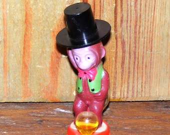 Vintage Little Squirt Peeing Naughty Monkey Celluloid and Blown Glass Toy Figurine Japan