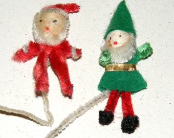 Vintage Chenille and Spun Cotton Santa Claus and Pixie Elf Stems Lot of 2