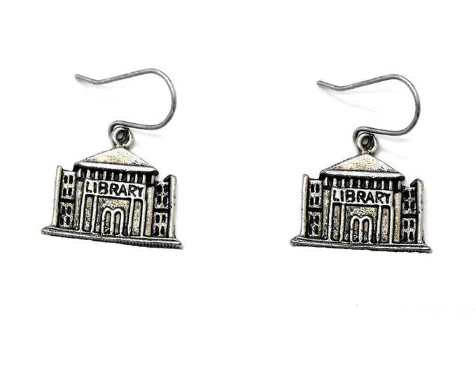 Library Earrings Jewelry Dangle Bookish Readers Literary Theme Librarian Gift