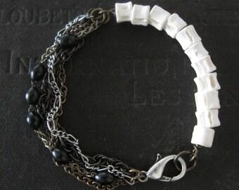 Fish Vertebrae and Chain Tangle Bracelet - Osteology - Black Rosary Beads