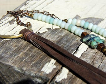 African Turquoise and Aquamarine Leather Tassel Necklace