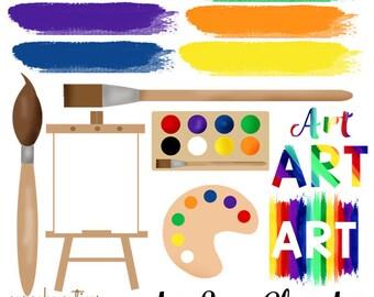 Watercolor Strokes Artist ClipArt Set - Easel paintbrush- Art School- Word Art - Digital Clipart Elements Commercial use Instant Download