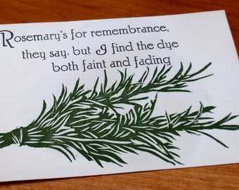 Rosemary Dyed Letterpress Postcard