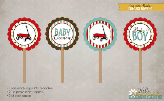 Custom Little Red Wagon Baby Boy Cupcake Topper, Radio Flyer and Vintage Toys - Turquoise & Red #S109