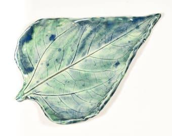 Sunflower Leaf - Spoon Rest - Ring Dish - Aqua Blue Tray - Handmade Ceramic