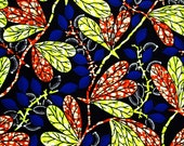African Fabric 1/2 Yard Cotton BLUE YELLOW ORANGE Abstract Floral