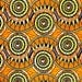 African Fabric 1/2 Yard Cotton Navy BLUE ORANGE YELLOW Abstract version 2