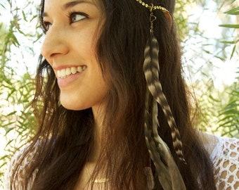 ON SALE CHAIN Headpiece- head chain headdress feather headpiece with crystals