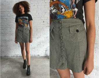 90s a line mini skirt / 1990s tweed mini / grunge black and white ghost world skirt