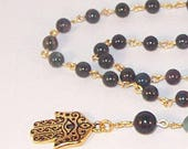 """EXCLUSIVE LISTING for CHRISTOPHER - Gemstone & Gold Rosary Necklace - Indian Bloodstone - Gold - TierraCast Hamsa - 30"""" plus Extension"""