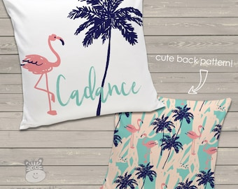 personalized throw pillow - palm tree beach flamingo 14 x 14 throw pillow - FBFBTP