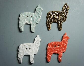 Handmade Ceramic Alpaca Buttons