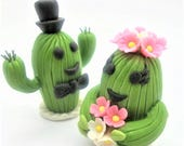 CACTUS Wedding Cake Topper, Miniature Polymer Clay Flowers Handmade Supply Cactus, set of 2 pieces