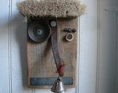 Folk art sculpture, reclaimed wood and metal face, wall hanging, salvaged found object art-Mr. Bellnose